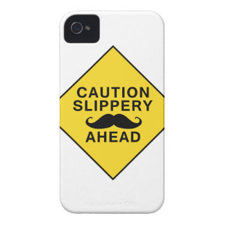 Caution Slippery Mustache iPhone 4 Covers