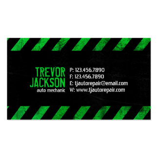 Caution Stripes - Green Business Card Templates