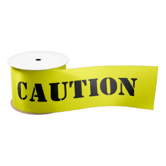 Caution Tape Halloween Satin Ribbon
