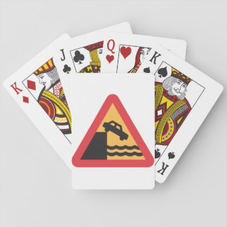 Caution Water Ahead Road Sign Playing Cards