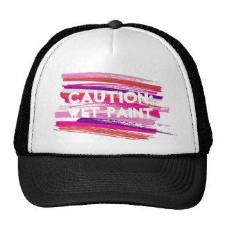 Caution Wet Paint Strokes Cap