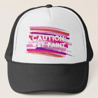 Caution Wet Paint Strokes Trucker Hat