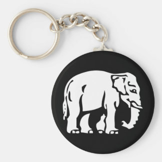 Caution White Elephant Crossing ⚠ Thai Road Sign Basic Round Button Key Ring