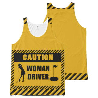 Caution Woman Driver Golf Humour All-Over Print Tank Top