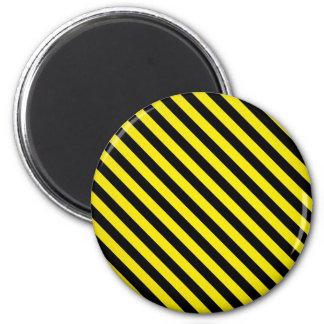 caution yellow black stripes under construction 6 cm round magnet