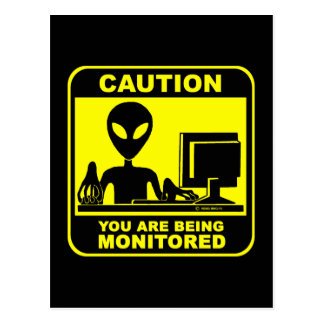 Caution! you are being monitored postcard