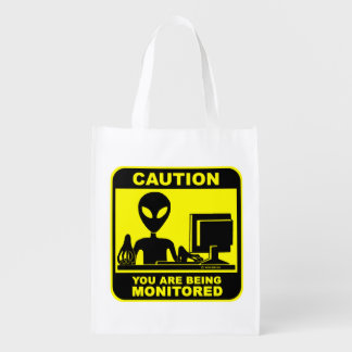 Caution! You are being monitored Reusable Grocery Bag