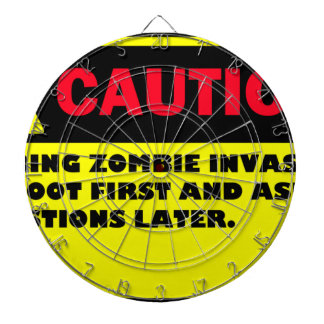 CAUTION ZOMBIE INVASION DART BOARD