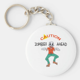 CAUTION ZOMBIES AHEAD KEYCHAINS