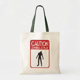 Caution zombies at play budget tote bag