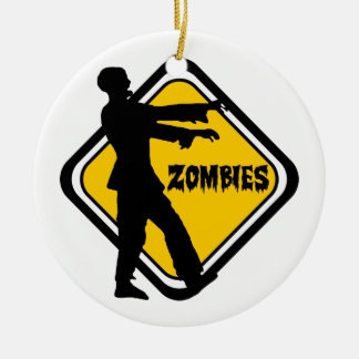 Caution Zombies Ceramic Ornament