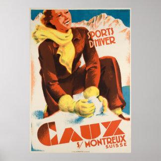 Caux Suisse Vintage Travel Poster