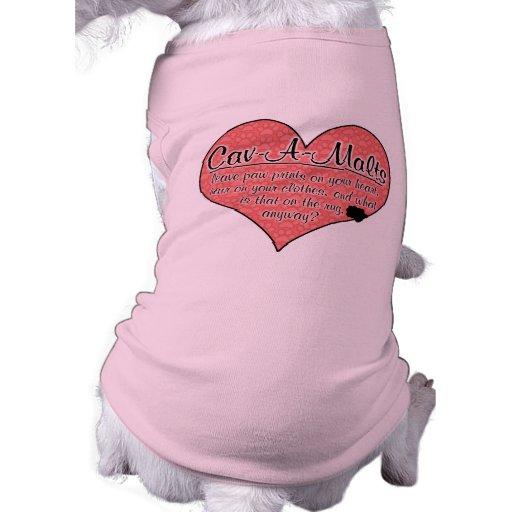 Cav-A-Malt Paw Prints Dog Humor Dog Tshirt