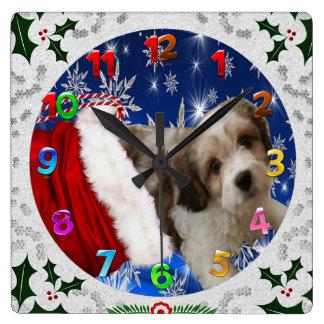 Cavachon Clock, Christmas Square Wall Clock