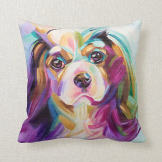 Cavalier Art pillow - turquoise back