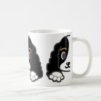 cavalier kcs peeking black and white coffee mug