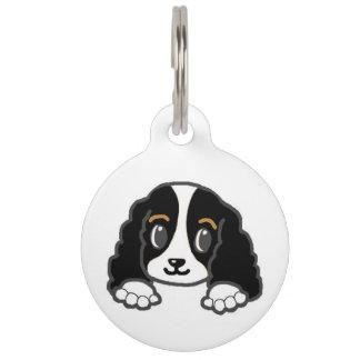cavalier kcs peeking black and white pet ID tag
