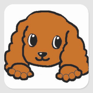 cavalier kcs peeking ruby square sticker