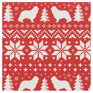 Cavalier King Charles Silhouettes Christmas Fabric