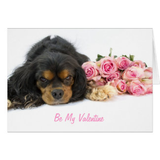 Cavalier King Charles Spaniel And Roses Valentine Card