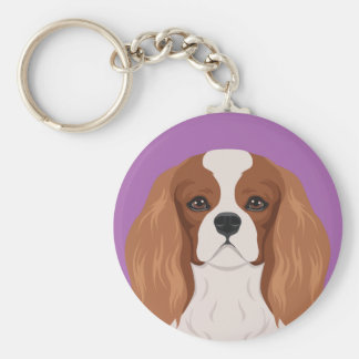 Cavalier King Charles Spaniel Basic Round Button Key Ring