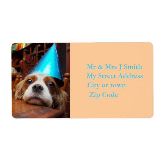 Cavalier King Charles Spaniel Birthday Label