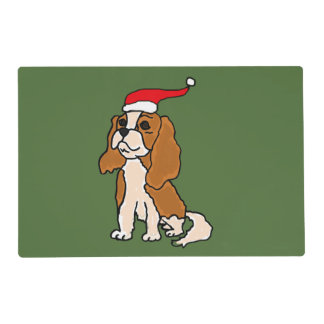 Cavalier King Charles Spaniel Christmas Art Laminated Placemat