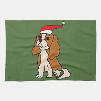 Cavalier King Charles Spaniel Christmas Art Tea Towel