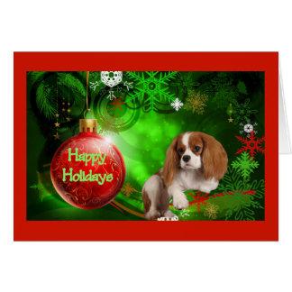 Cavalier King Charles Spaniel Christmas Card Red B