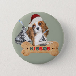 Cavalier King Charles Spaniel Christmas Kisses 6 Cm Round Badge
