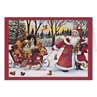Cavalier King Charles Spaniel Christmas Santa and  Card