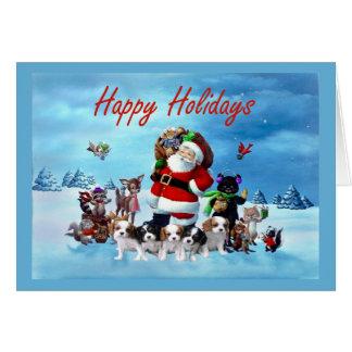 Cavalier King Charles Spaniel Christmas Santa Anim Greeting Card
