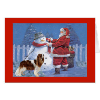 Cavalier King Charles Spaniel Christmas Snowman Greeting Card