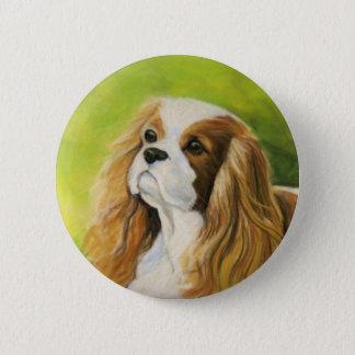 """Cavalier King Charles Spaniel"" Dog Art Button"