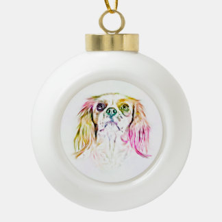 Cavalier King Charles Spaniel Dog Art Ceramic Ball Christmas Ornament
