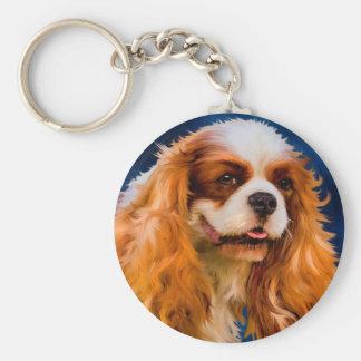 Cavalier King Charles Spaniel Dog Art - Chelsea Basic Round Button Key Ring