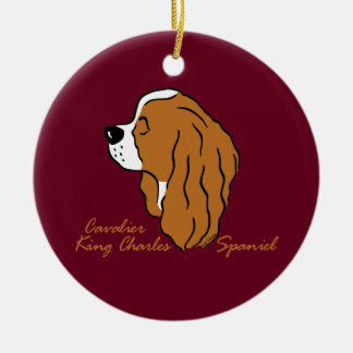 Cavalier King Charles Spaniel head silhouette Ceramic Ornament