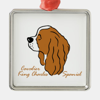Cavalier King Charles Spaniel head silhouette Metal Ornament