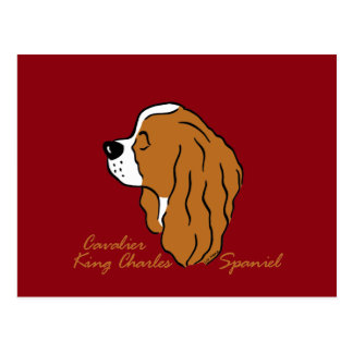 Cavalier King Charles Spaniel head silhouette Postcard