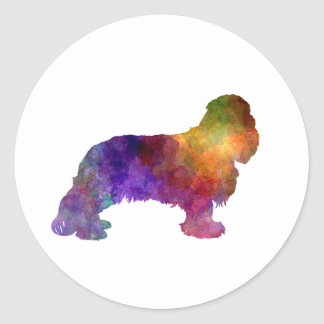 Cavalier King Charles Spaniel in watercolor Classic Round Sticker