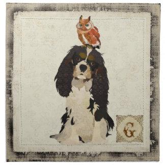 Cavalier King Charles Spaniel & Owl Napkin