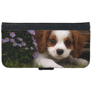 Cavalier King Charles Spaniel Puppy behind flowers iPhone 6 Wallet Case
