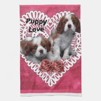 Cavalier King Charles Spaniel Puppy Love Tea Towel