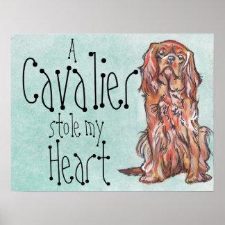cavalier king charles spaniel ruby art poster