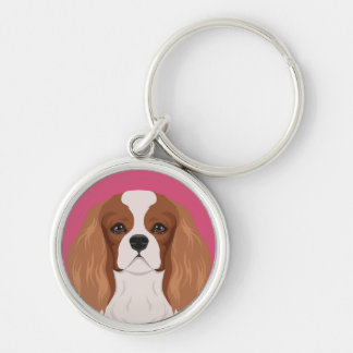 Cavalier King Charles Spaniel Silver-Colored Round Key Ring