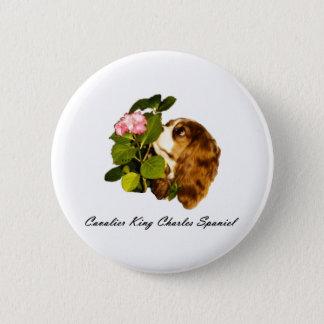 Cavalier King Charles Spaniel With Flower 6 Cm Round Badge