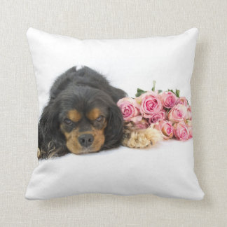 Cavalier King Charles Spaniel With Pink Roses Cushion