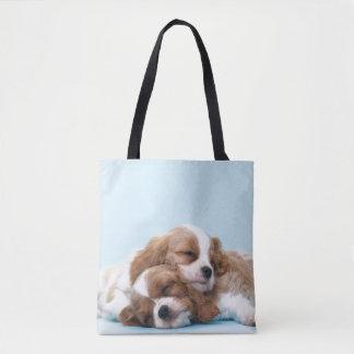 Cavalier King Charles Spaniels Sleeping Tote Bag