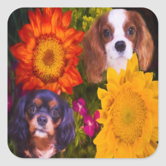 Cavalier King Charles With Sunflowers Stickers