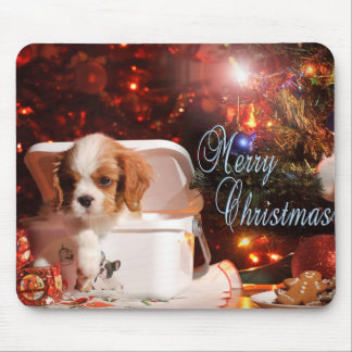 Cavalier puppy Christmas Card Mouse Pad